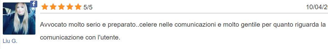 Liu recensisce l'avv. Gianluca Piemonte